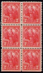 US STAMP #643 – 1927 2c Vermont Sesquicentennial  MNH/OG BLK OF 6