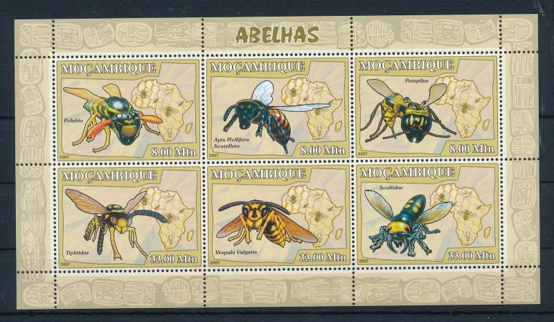 [31369] Mozambique 2007 Insects Insekten Insectes Wasp Bee MNH Sheet
