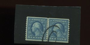 Scott #496a Washington Small Holes Var USED Pair of 2 Coil Stamps w/PSE Cert!!!!