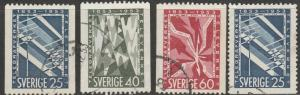 Sweden, #452-455 Used Set Of 4, From 1953