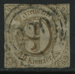 Thurn & Taxis Southern District 1862 9 kreuzer bister used