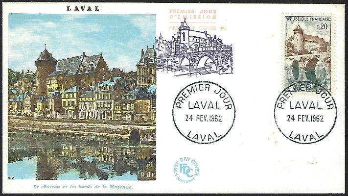 France #1023 Feb 24, 1962 Laval First Day Cover Unaddressed