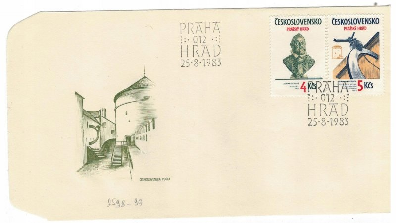 Czechoslovakia 1983 FDC Stamps Scott 2466-2467 Art Prague Castle Emperor Rudolf
