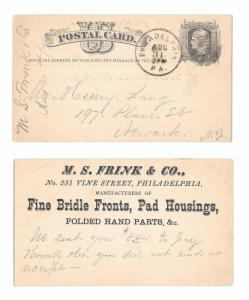UX5 1876 Phila PA Fancy Cork Grid Cancel Frink Fine Bridle Parts Henry Lang NJ
