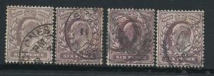 GB Edward VII 6d purple  shades SG 246,  297 range by 4 U...