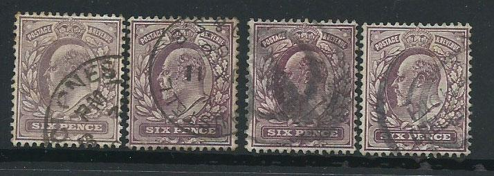 GB Edward VII 6d purple  shades SG 246,  297 range by 4 U...