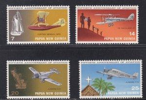 Papua New Guinea # 348-351, Aircraft, NH, 1/2 Cat.,