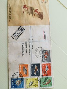 SINGAPORE 1962 FDC WITH FISH DEFINITIVE ISSUE AIRMAIL TO UK (A)