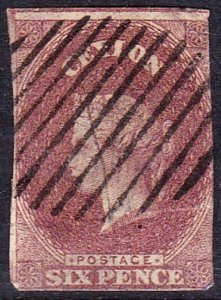 CEYLON 1857 QV 6d Purple-Brown SG1 Used CV£450