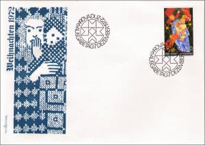 LIECHTENSTEIN 1972 OFFICIAL FIRST DAY COVER : VADUZ DECEMBER 7 1972