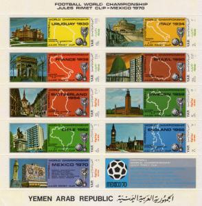 Yemen 1970 Sc#273 World Cup Mexico Shlt (9+1L) Perf.MNH VF