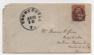 VA US Cover Scott #10 Front Royal Aug 12, 1851