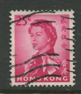 Hong Kong - Scott 207 -QEII Definitive Issue-1962 -Used- Single 25c Stamp