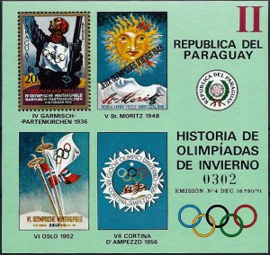 1972 Paraguay History of the Olympic Games, Garmisch, Sheet VF/MNH! CAT 23$