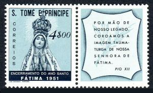 St Thomas & Prince Islands 355,Mint.Holy Year Conclusion.Our Lady of Fatima,1951
