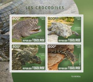 TOGO - 2019 - Crocodiles - Perf 4v Sheet - MNH