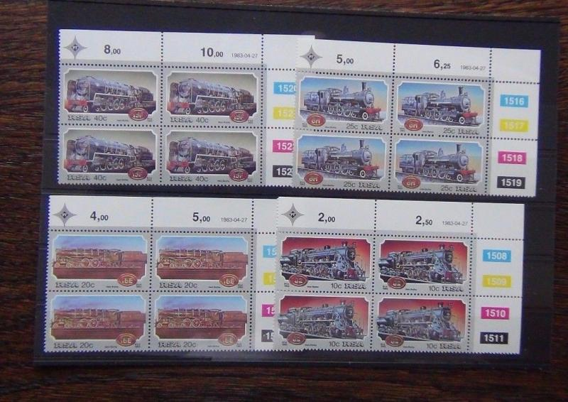 South Africa 1983 Steam Railway set in block x 4 MNH