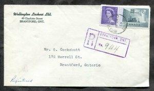 d330 - BRANTFORD Ontario 1954 Registered Cover. Local. Wellington Lockers