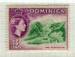 DOMINICA; 1954 early QEII issue fine Mint hinged 3c. value