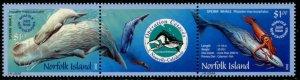 NORFOLK IS. Sc#783 2002 Whales Strip of 3 Complete Set OG Mint NH
