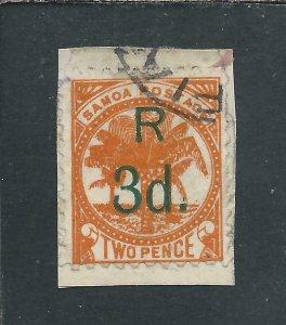 SAMOA 1895-1900 3d on 2d RED-ORANGE FU ON PIECE SG 80 CAT £130