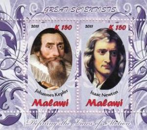 Malawi 2011 M/S Great Scientist Kepler Isaac Newton Famous People Sciences Stamp