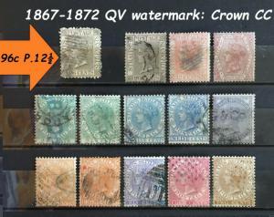 Malaya Straits Settlements 1867-72 QV wmk CC 14V used 96c P.12½ SG#11-19a CV£580