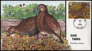 Collins Handpainted FDC Arctic Tundra: Willow Ptarmigan birds (7/2/2003)