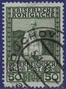 Austria - 1908 - Scott #121 - used - POUCHOV pmk Czech Republic