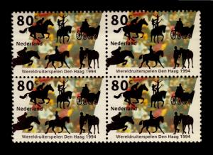 NETHERLAND HORSE SPORT CIRCUS MNH BLOCK OF 4 STAMPS