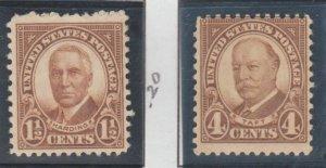 U.S. Scott #684-685-686-687 Harding & Taft Stamps - Mint Set
