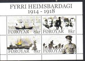 Faroe Islands Sc 631 2014 World War I stamp sheet mint NH