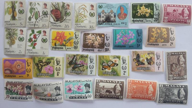 25 Different Malay States Stamp Collection - Perlis