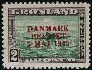 Greenland Iconic Overprint SC#26 Mint OG  VF...chance to buy individually!!