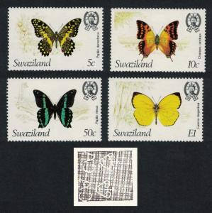Swaziland Butterflies 4v Watermark Ww14 'Crown to Right' SG#393-396 MI#392-395
