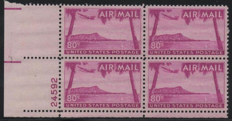 ~ US Scott #C46 XF/SUPERB Mint NH Plate Block of Airmail Stamps  ~