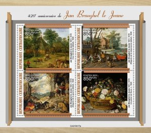 C A R - 2021 - Jan Brueghel the Younger - Perf 4v Sheet - Mint Never Hinged