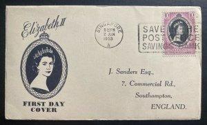 1953 Singapore Malaya first day cover FDC Queen Elizabeth II Coronation QE2