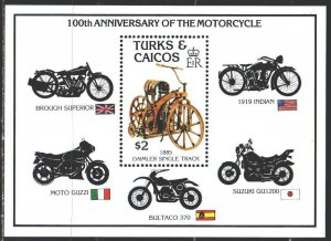 Turks and Caicos. 1985. bl 62. Motorcycles. MNH.
