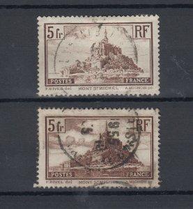 France 1929/33 5 Fr Mont St Michel x 2 SG473/a VFU JK4591