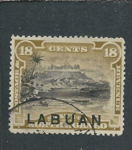 LABUAN 1894-96 18c OLIVE-BISTRE  LIGHTLY USED SG 72 CAT £75