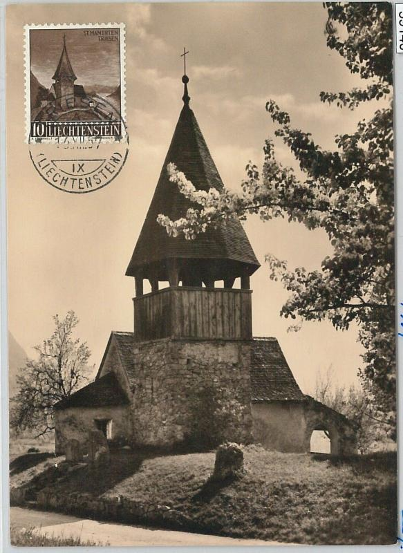 59140  -  LIECHTENSTEIN - POSTAL HISTORY: MAXIMUM CARD 1957  - ARCHITECTURE
