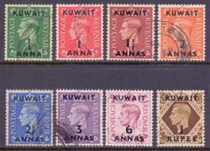 Kuwait Scott 72/79 - SG64/71, 1948 George VI to 1/- used