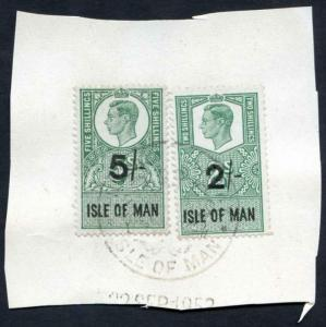 Isle of Man KGVI 5/- and 2/- Key Plate Type Revenues CDS on Piece