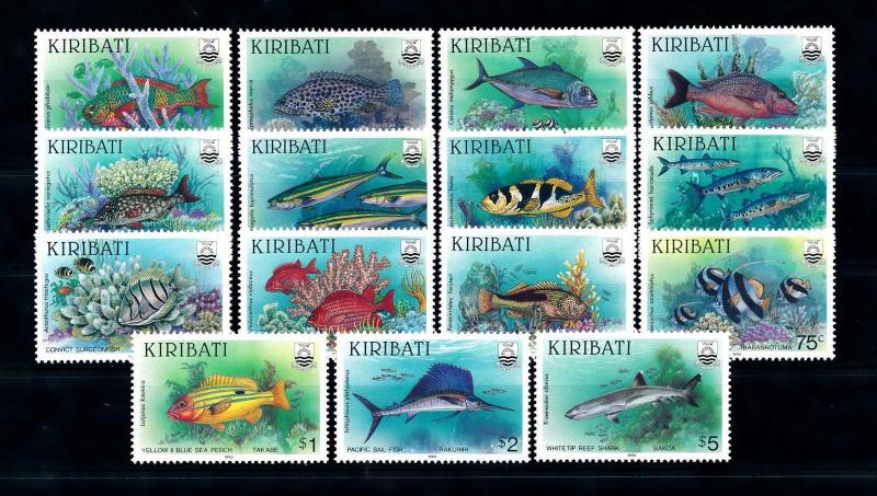 [47975] Kiribati 1990 Marine life Fish Shark 15 Values MNH