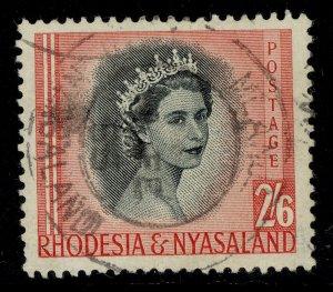 RHODESIA & NYASALAND QEII SG12, 2s 6d black & rose-red, FINE USED.