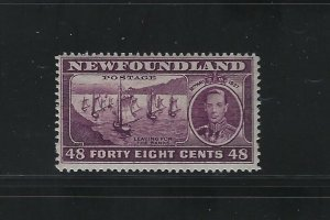 NEWFOUNDLAND - #243 - 48c LEAVING FOR THE BANKS MINT STAMP MH KGVI CORONATION