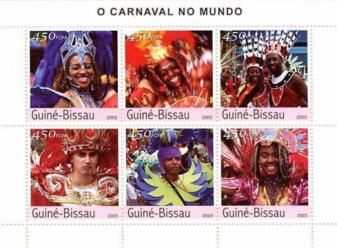 Guinea-Bissau MNH S/S Carnivals 2003 6 Stamps