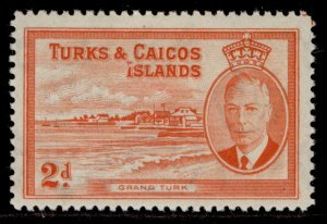 TURKS & CAICOS ISLANDS GVI SG224, 2d red orange, M MINT.