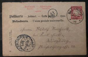 1899 Bagamoyo German East Africa PS Postcard Cover to Würzburg Germany